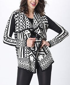Look what I found on #zulily! Black & White Geometric Drape Cardigan by Simply Couture #zulilyfinds