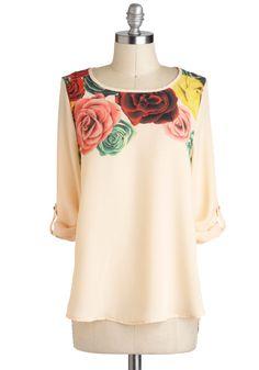 Modern Romantics Top - Mid-length, Sheer, Cream, Multi, Floral, Casual