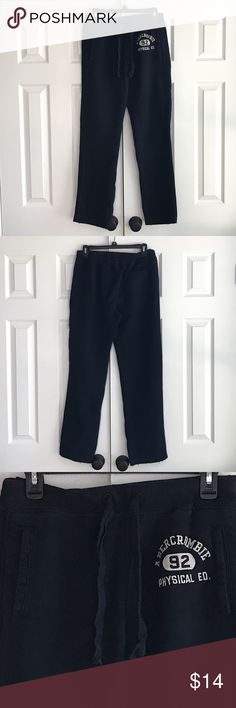 "Abercrombie Fitch sweatpants 70% cotton 30% polyester machine wash cold. Fabric is extremely soft.  Sweats have two front pockets and one back pocket and a drawstring waist.  flat waist is 16"" across. Inseam is 30"". Stitching at the waist down the legs and through the crotch are all intact. There are a few broken stitches in the pants cuffs. Photo 4. No rips or stains. Sweats have been gently worn and cleaned. Abercrombie & Fitch Pants"