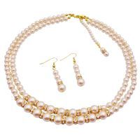 Price $69.99     Material Used : It is genuine swarovski 6mm & 8mm swarovski Ivory Pearls double stranded Necklace Set in golden tone with golden rondelles  Color : Ivory / Gold  Necklace Length : The inner string is 16 inches & the outer string is 17 inches  Earrings : 6mm & 8mm Swarovski Ivory Pearls with Gold Plated Hook & gold rondells spacer measures 1 inch  Back Drop : 6 inches long     http://www.fashionjewelryforeveryone.com/BridalStatic/BRD1013.html