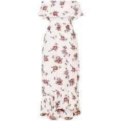 Julianna White Bardot Floral Maxi Dress (2.525 RUB) ❤ liked on Polyvore featuring dresses, white maxi dress, white dress, white color dress, botanical dress and floral dresses