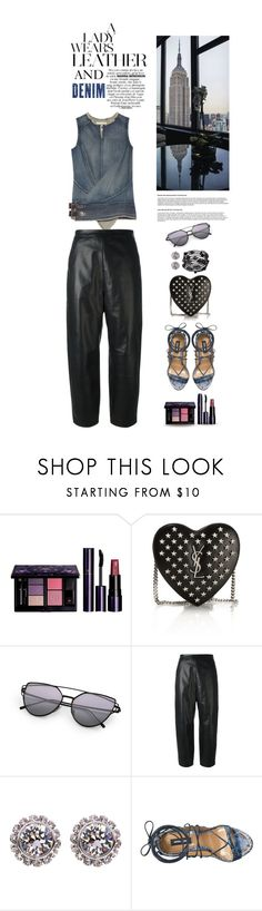"""DENIM AND LEATHER"" by shortyluv718 ❤ liked on Polyvore featuring Clé de Peau Beauté, Yves Saint Laurent, Junya Watanabe, Neil Barrett, Ted Baker, Dsquared2, 1928, leatherpants, denimshirt and DenimStyle"