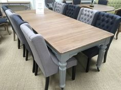 Love this!! Venice Dining Table Oak & Painted Grey Legs & 8 Black & Grey Fabric Chairs Set in Home, Furniture & DIY, Furniture