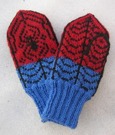 Free Knitting Pattern for Spiderman Mittens - These We Call Him Spidey Mittens by Kathleen Taylor. Pictured project by LivM