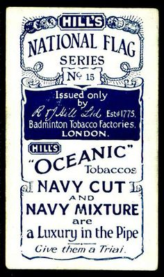 "Cigarette Card Back - Hill's ""Oceanic"" Tobacco"