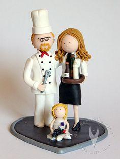 Koch Brautpaar Familie  Hochzeitstortenfigur von www.tortenfiguren.at