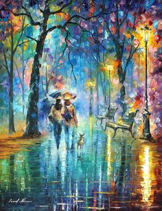 "Little Friend — ORIGINAL Palette Knife Contemporary Oil Painting On Canvas By Leonid Afremov - Size: 30"" x 40"" (75cm x 100cm)"