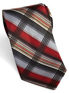 Calvin Klein Red Plaid Extra Long Tie