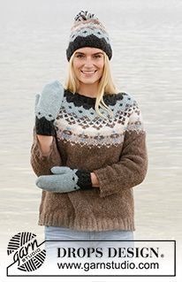 Winter Fjords / DROPS - Free knitting patterns by DROPS Design Knitted jumper with round yoke in DROPS Air. Piece is knitted top down with Nordic pattern. Size: S - XXXL Fair Isle Knitting Patterns, Sweater Knitting Patterns, Free Knitting, Crochet Patterns, Finger Knitting, Scarf Patterns, Drops Design, Ropa Free People, Nordic Pattern