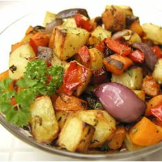 Roasted Vegetables - winter veggies butternut squash, red bell peppers, sweet potato, onion, and Yukon Gold potatoes roasted in olive oil with fresh rosemary