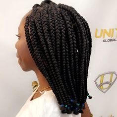18 Gorgeous Goddess Braids You Need to See Box Braids Bob, Medium Box Braids, Jumbo Box Braids, Goddess Braid Styles, Goddess Braids, Box Braids Hairstyles, Latest Hairstyles, Black Rubber Bands