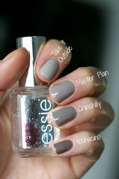 Essie Greige Comparison : Chinchilly, Take It Outside, Master Plan & Mochacino | Essie Envy