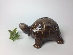 Vintage Turtle Coin Bank, Redware Ceramic Coin Bank, Small Turtle Bank, Still Bank, Boho Decor, Ceramic Turtle, Made in Japan, Ceramic Bank