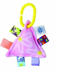 "Taggies Classic Take A Long Plush, Pink 'n' Pretty by Taggies, Inc.. $12.99. Ideal baby item; unique patented tags stimulate interactive with any child. Machine wash warm, tumble dry low, do not iron. 100% polyester; polyethelyne ring. Classic Take A Long- Hugs: 5"" triangle; interactive travel toy with teething ring clip.  Take A Long Taggies are for babies on the go. Each has an easy attachment that doubles as a teether ring and with an abundance of exciting visual and tactile..."