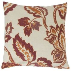 """The Pillow Collection Rhynisha Throw Pillow Color: Ginger, Size: 22"""" x 22"""""""