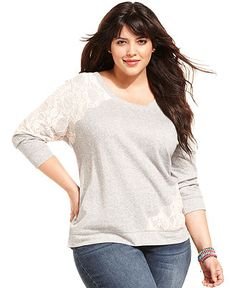 American Rag Plus Size Top, Three-Quarter-Sleeve Lace Sweatshirt - Plus Sizes - Sale - Macy's $35.99