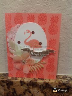 Pop of Paradise flamingo Botanical Builders framelits Stampin' Up!
