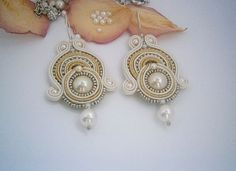 White and gold Soutache Earrings with pearls by AllasSoutache, $65.00