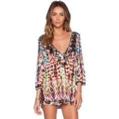 Milly batik beaded deep V coverup NWOT Rayon jersey coverup Milly Swim Coverups