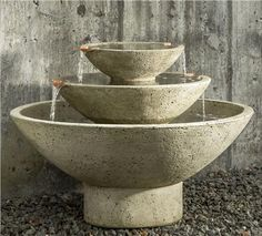 Carrera Fountain by Campania International at The Garden Gates This three tiered fountain is a beautiful way to bring moving water into your backyard, garden, or outdoor space. Three bowl shaped tiers makes the Carrera Fountain a tranquil, inviting piece for your outdoor setting.