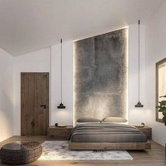 60 Ideas For Bedroom Interior Design Rustic Modern Master Bedroom, Modern Bedroom Design, Modern Bedrooms, Modern Bedroom Lighting, Modern Lighting, Bedroom Interior Design, High Ceiling Lighting, Simple Bedrooms, Dark Ceiling