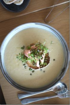 Cauliflower and smoked trout soup