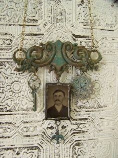 Vintage Tintype and Old Hardware Necklace Pendant Jewelry    One of a kind necklace, this perfectly aged piece of drawer hardware showcases a hanging