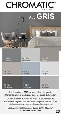 In decoration, the is a timeless and at the same time, ideal for all rooms of the house. Discover all the shades of gray of CHROMATIC® on www.chromaticstor … Source by Chromatic_PPG Interior Paint Colors For Living Room, Paint Colors For Home, Bedroom Colors, House Colors, Living Room Decor, Bedroom Decor, Colour Schemes, Colorful Interiors, House Design