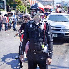 Policeman in Thailand during celebating the Songkran (Thai New Year)