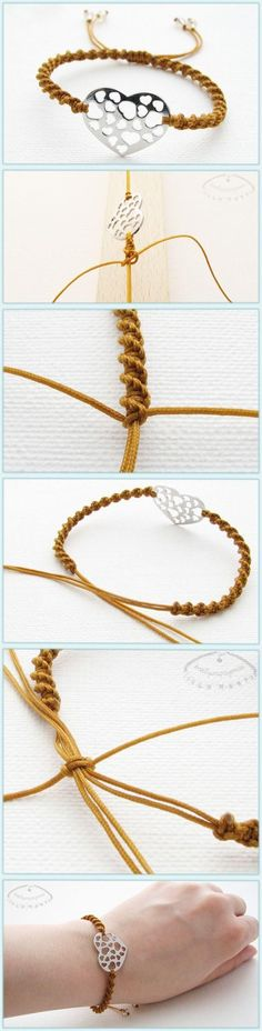 How to make braided friendship bracelet with heart charms