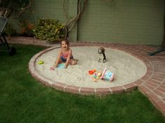 great idea to build a sand box into patio... then when kids get older turn it into a fire pit?