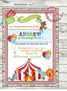 Circus Theme Birthday Invitation and Thank You by RollingIdeas