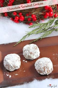 Chocolate Snowball Cookies - RecipeGirl.com #Christmas #recipe