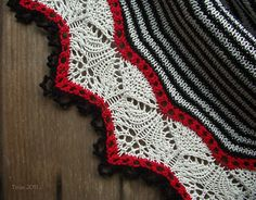 Not sure I love the stripes, but love how the red sets off the edging lace.