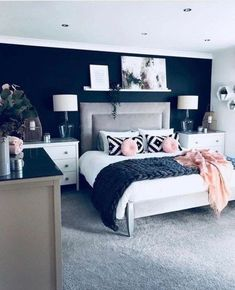 Trendy Bedroom Black And White Decor Room Ideas Wall Art Bedroom Color Schemes, Bedroom Colors, Bedroom Ideas, Bedroom Inspo, Bedroom Inspiration, Blue Gray Bedroom, Navy Nursery, Bedroom Neutral, White Furniture