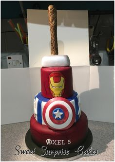 Avengers cake, Spiderman, Captain America, Iron man, Thor