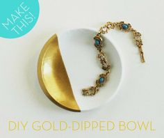 Turn affordable, plain white dishware into on-trend decor with this gold-dipped bowl DIY.