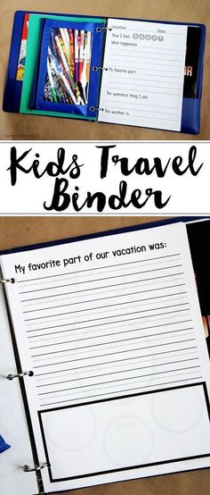 Create your own Kids' Travel Binder to keep your kids' busy during long road trips and to keep them learning while on vacation!