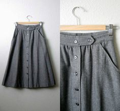 vintage charcoal gray a-line wool skirt - 1960's