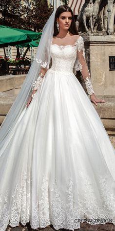 crystal design bridal 2016 illusion long sleeves sweetheart neckline lace bodice pretty princess ball gown wedding dress chapel train (alika) zfv
