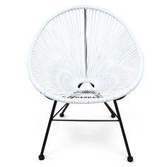 Fauteuil Acapulco chaise oeuf design rétro cordage Blanc