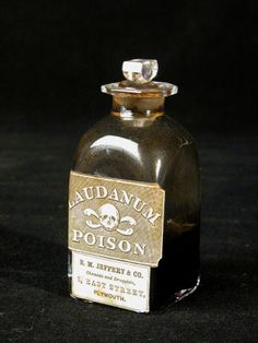 Laudanum bottle - One of sixteen glass bottles contained in a travelling medicine chest. Laudanum is a tincture of opium. Old Medicine Bottles, Antique Bottles, Vintage Bottles, Bottles And Jars, Glass Bottles, Perfume Bottles, Vintage Advertisements, Vintage Ads, Vintage Labels