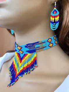 Handmade Blue Multi-color Choker Necklace Earrings set