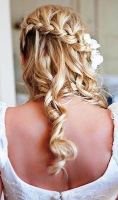 Bride's diagonal braid waterfall braid with long curls bridal hair ideas Toni Kami Wedding Hairstyles ♥ ❶ Flower accents