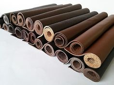 BROWN LEATHER PIECES COWHIDE OFFCUTS - 20 COLOUR VARIATIONS - VARIOUS SIZES