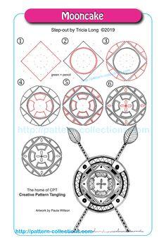 Mooncake by Tricia Long Zen Doodle Patterns, Doodle Art Designs, Zentangle Patterns, Zentangle Drawings, Doodles Zentangles, Doodle Drawings, Blackwork, Doodle Techniques, Tangled Flower