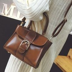 Stitching Buckle PU Leather Handbag
