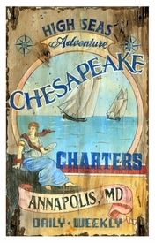 Customizable Large Chesapeake Charters Vintage Style Wooden Sign