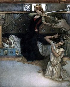 """Illustration from """"Le morte d'Arthur - the book of King Arthur and of his noble knights of the round table, volume I' by Sir Thomas Malory, Knt; illustrated by William Russell Flint. Published by Philip Lee Warner King Arthur Legend, Legend Of King, The Lady Of Shalott, Friedrich Ii, William Russell, Fairytale Art, Pre Raphaelite, Medieval Fantasy, Les Oeuvres"""