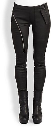 Rick Owens Leather Side-Zip Leggings #black #fashion #style